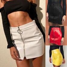 US Women Sexy High Waist Circle Zipper Shiny PU Leather Mini Short  Skirt