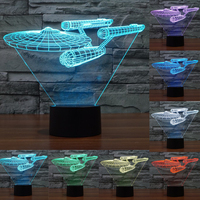 Novelty 7 Color Change 3D Star Trek Battleship Lamp Colorful LED Visual Atmosphere Deco Lamp With