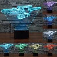 Novelty 7 Color Change 3D Star Trek Battleship Lamp Colorful LED Visual Atmosphere Deco Lamp With