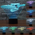 Enterpris 7 Color change Star Trek Trek 3D acorazado colorida lámpara de luz LED táctil interruptor de la lámpara deco ambiente visual IY803318