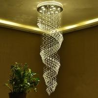 Villa staircase lamp long chandelier Duplex Spiral Stair Crystal Light Hanger Modern minimalist staircase chandelier