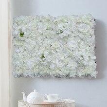1 個造花壁結婚式の背景の装飾芝生柱道路のリードの花アーチシルクローズアジサイ白花