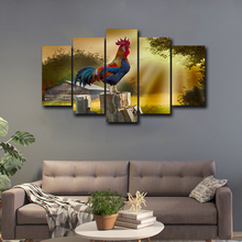 Wall Art Canvas Prints Poster Home Decor 5 Pieces Chanticleer Crow Paintings Living Room Pictures Framework Abooly