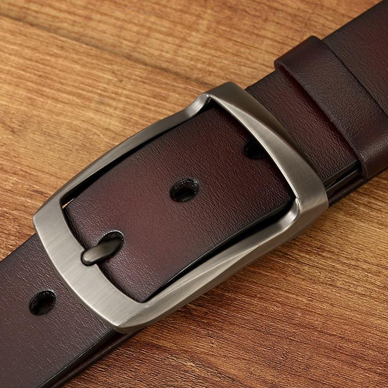 New cow genuine leather belts for men vintage style pin buckle luxury designer belts men cowskin fashion Strap Jeans in Men 39 s Belts from Apparel Accessories