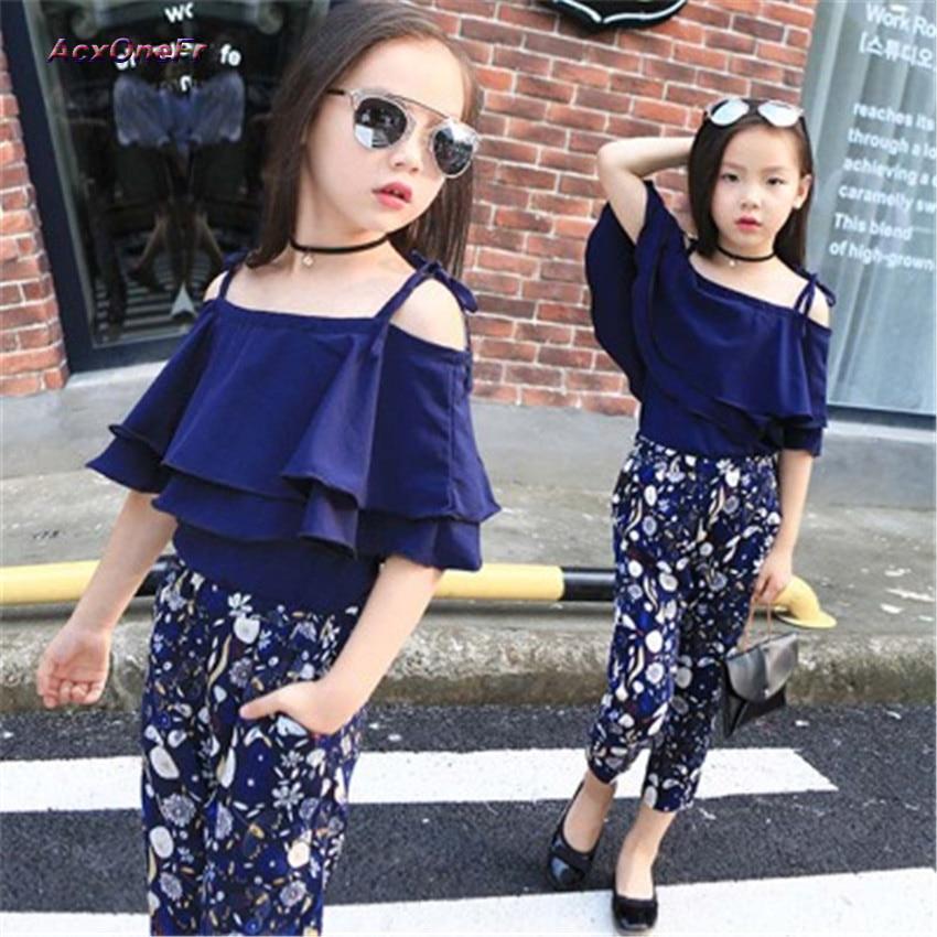 Summer Kids Fashion Baby Girls Clothing Sets 2 pcs Blue Lace Bat Sling Blouse Top&Flowers Pants Suit for Teenage Girls WM-089 стоимость