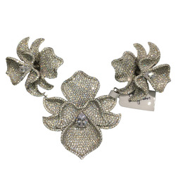 DIY jewelry findings& components connectors for necklace 3 flowers orchid 925 silver with cubic zircon pave stone women jewelry
