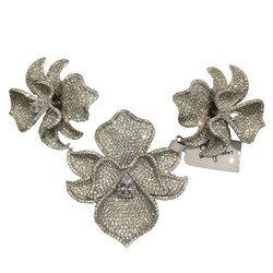 Diy مجوهرات النتائج ومكونات وصلات للقلادة 3 زهور الأوركيد 925 فضة مع مكعب الزركون تمهيد حجر النساء المجوهرات