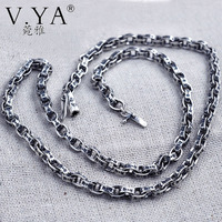 V YA Pure Handmade Thai SilverJewelry Retro 925 Silver 80CM Long Chain Men S Oval Ring