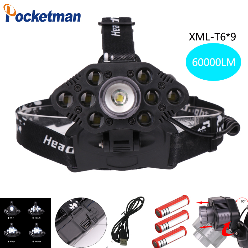 60000LM Led Headlight Super Bright 1*T6 Light+9*T6 Light and 9*T6 Flash Zoomable Waterproof Support USB charge for 3*18650 z4560000LM Led Headlight Super Bright 1*T6 Light+9*T6 Light and 9*T6 Flash Zoomable Waterproof Support USB charge for 3*18650 z45