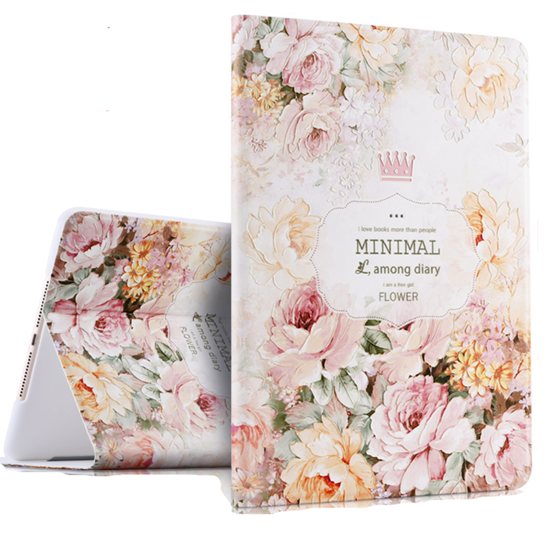 3D Releif Painting Floral Cover for iPad Air 2 Smart Auto Wake/Sleep Tablet Case for iPad 6 A1566 A1567 9.7 inch Funda Shell