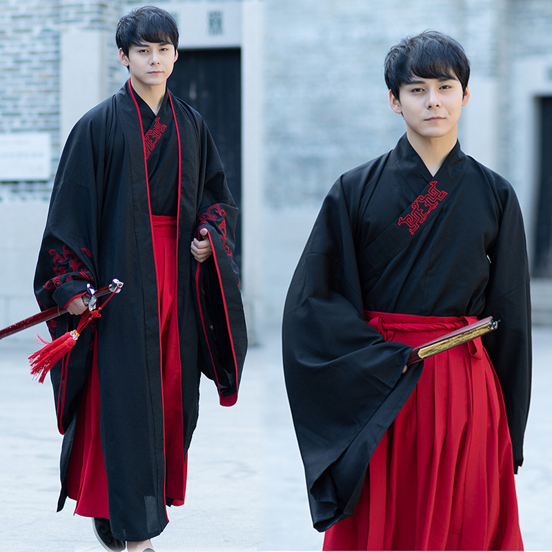 Hanfu Male Han Element Traditional Clothing Long Sleeve Skirts Tang Dynasty Ancient Outfits Men Stage Dancewear Chinese DN3514