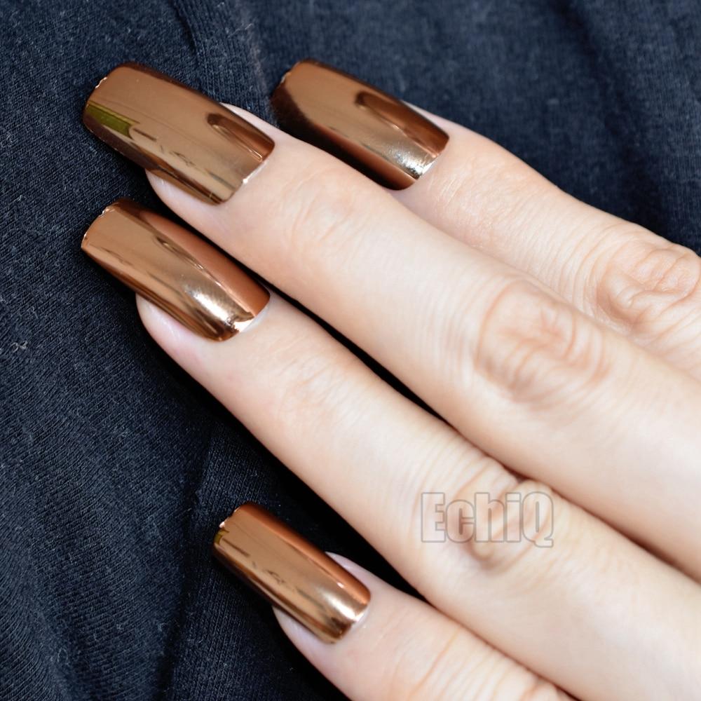 20pcs/set Shiny Mirror Full Size Nail Art Tips Metallic