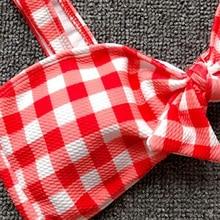 Women's Pink Plaid Swimsuits Push Up Bikini May Red