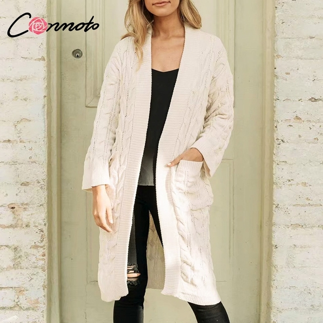 Conmoto Casual Pink Chenille Long Cardigans Women 2018 Autumn Winter  Fashion Pockets Cardigan Sweater Women White ab5153490