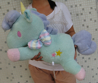 Sanrio Little Twin Stars Blue Unicorn Pillow Cushion Plush Toy 23 NEW