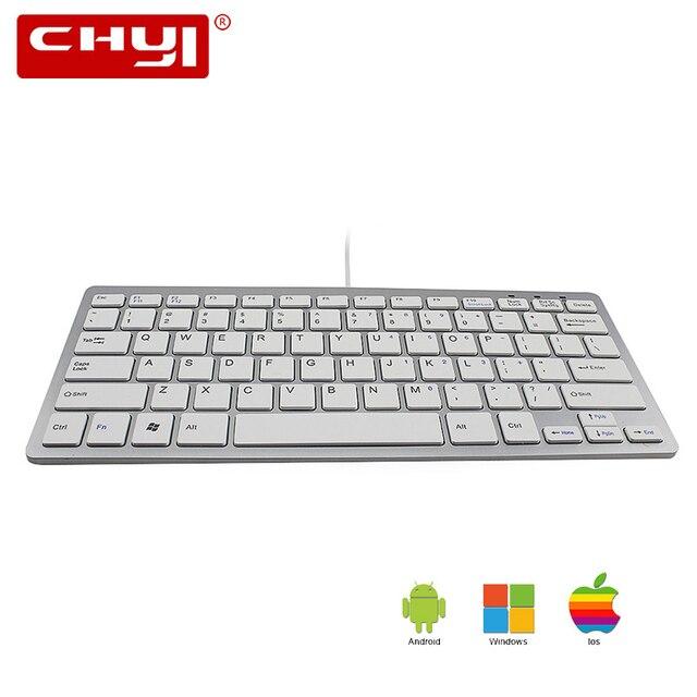CHUYI Super Dünne Mini Verdrahtete Tastatur 78 Tasten Computer Gaming Tastatur für Gamer Desktop PC Android Windows ios Telecommuting