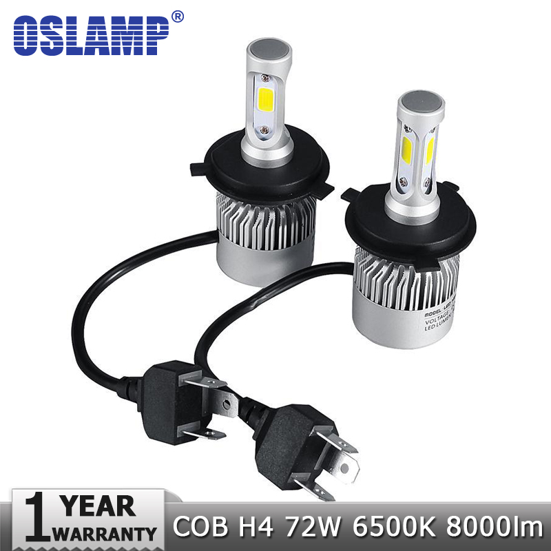 Oslamp LED Car <font><b>Headlight</b></font> H4 Hi-Lo Beam COB Auto Led <font><b>Headlight</b></font> Bulb 72W 8000lm 6500K Headlamp for Toyota Honda Nissan BMW Mazda