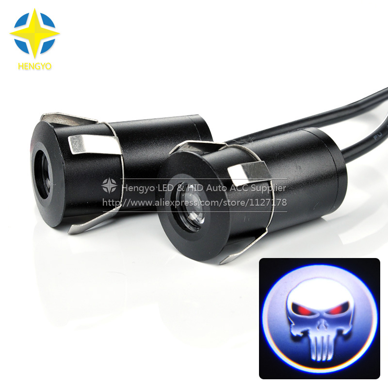 2pcs/pair Wireless Car Door Welcome Light Logo No Drill Type Badge Lights LED Laser Ghost Shadow Projector Lamp for SKULL. 2 pcs fc barcelona wireless led car door projectors