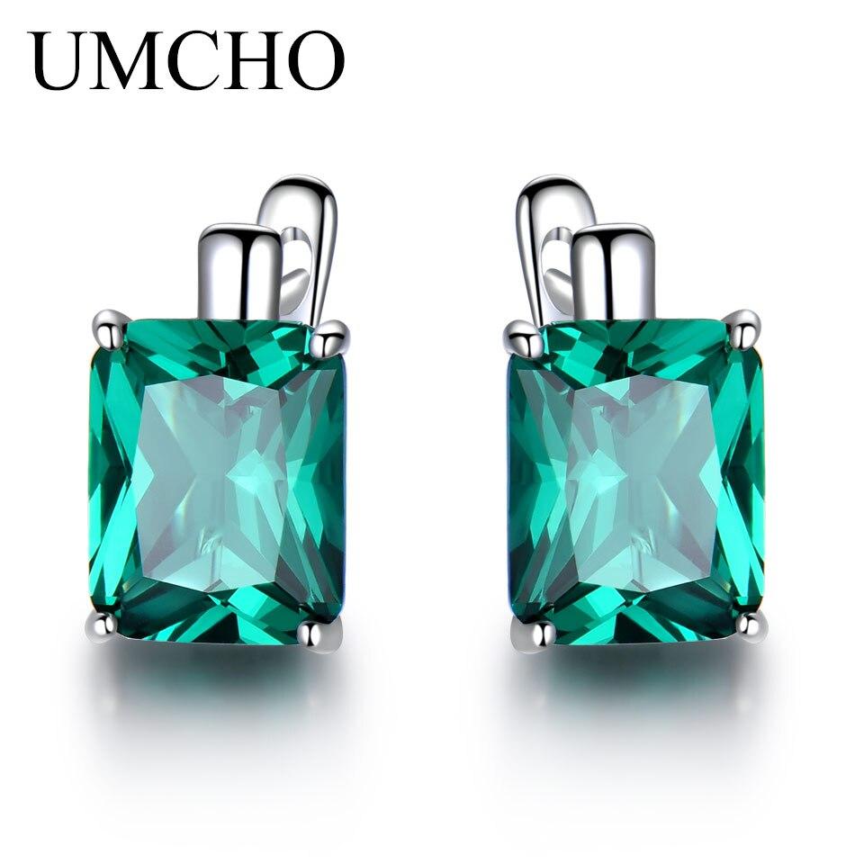 UMCHO Emerald Gemstone Brincos Clipe para As Mulheres de Luxo Genuíno 925 Jóias de Prata Esterlina Pedra Preciosa Verde Presente de Casamento Da Moda