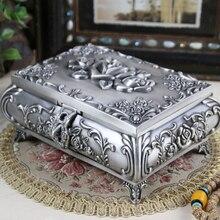 Размер L-винтажный Чехол для ювелирных изделий, модная шкатулка из цинкового сплава, металлическая коробка для безделушек, резной цветок, роза, квадратная форма