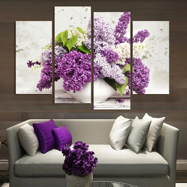 4 Panel Modern Lavender Flowers Canvas Painting On Wall Art Modular Pictures Home Decor For