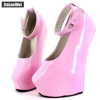 Fetish High Heel Platform Pumps Woman 20cm High Heels Exotic Fetish Wedge Ballet Boots Padlocks Pointed Toe Party Shoes