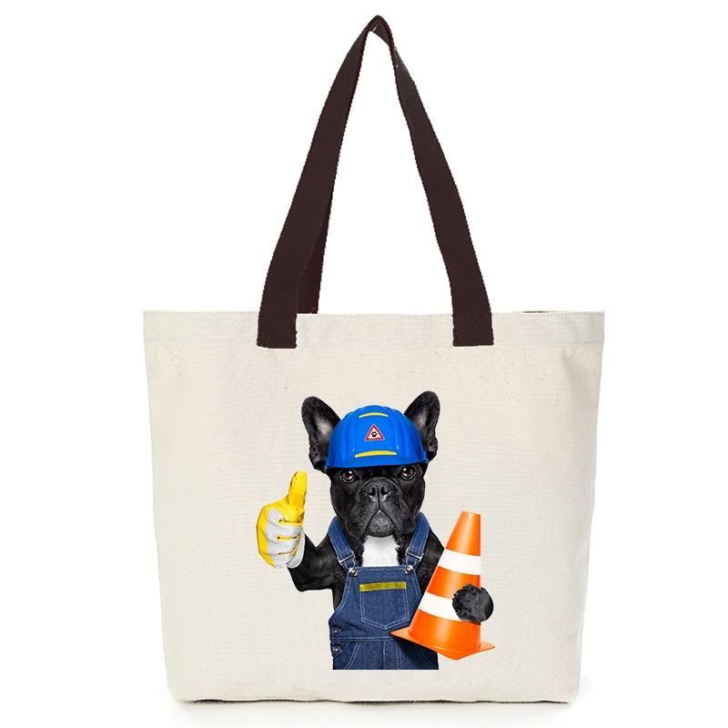 Origina cool dog series canvas custom tote bag customize eco bags diy logo shopping bag with logo  Dachshund Shepherd Dog Poodle (12)