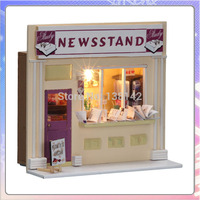 13510 Magazine Shop Diy Miniature Dollhouse Store Doll House With Led Light Free Shipping