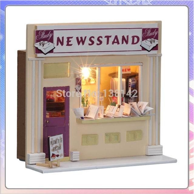 13510 Revista Loja loja de diy casa de bonecas Em Miniatura casa de boneca com luz led frete grátis