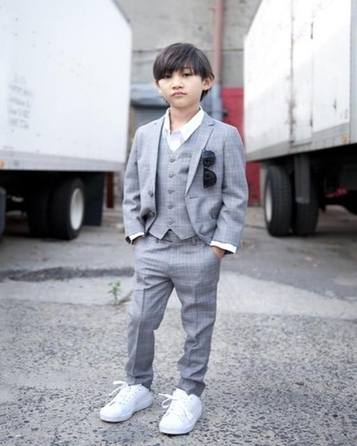 Hot Sale Grey Boys Linen Suit For Wedding Kids Tuxedo Suit Boys ...