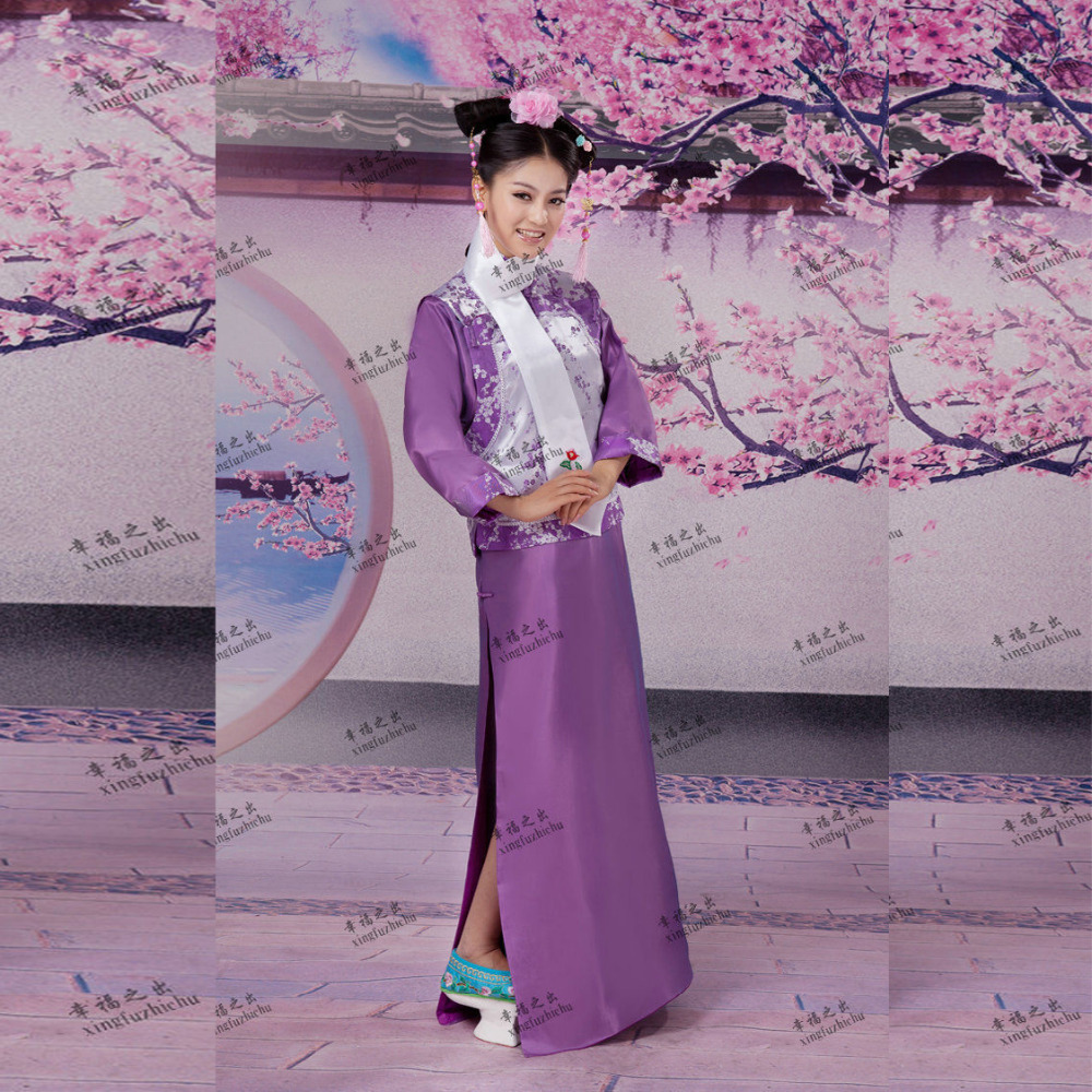 Purple Chinese Ancient Qing Dynasty Cheong-sam Dress Infanta Princess Dramaturgic Dress Photo Dress Cosplay One Size 081808