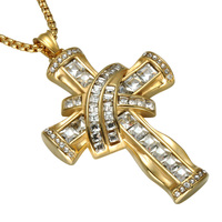 Two Tones Gold Sliver Iced Out Crucifix Pendant Necklace Stainless Steel Religious Cross Pendants Necklaces Christian