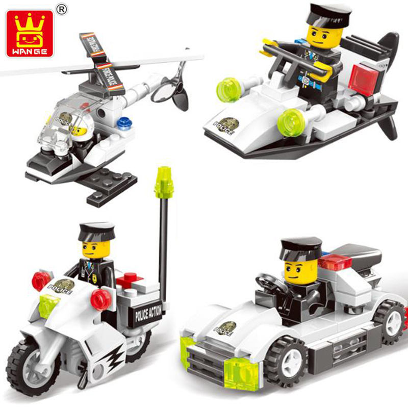 Wange Super City Police Cars Helicopter Motorcycle Chase Bandit Building Blocks Kids Toys Compatible LegoING Gift for children city series police car motorcycle building blocks policeman models toys for children boy gifts compatible with legoeinglys 26014