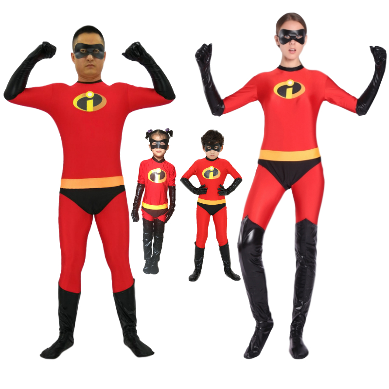 The Incredibles 2 Elastigirl Family Costume Spandex Halloween Party Adult Kids Superhero Cosplay Zentai Suit Jumpsuit Bodysuit