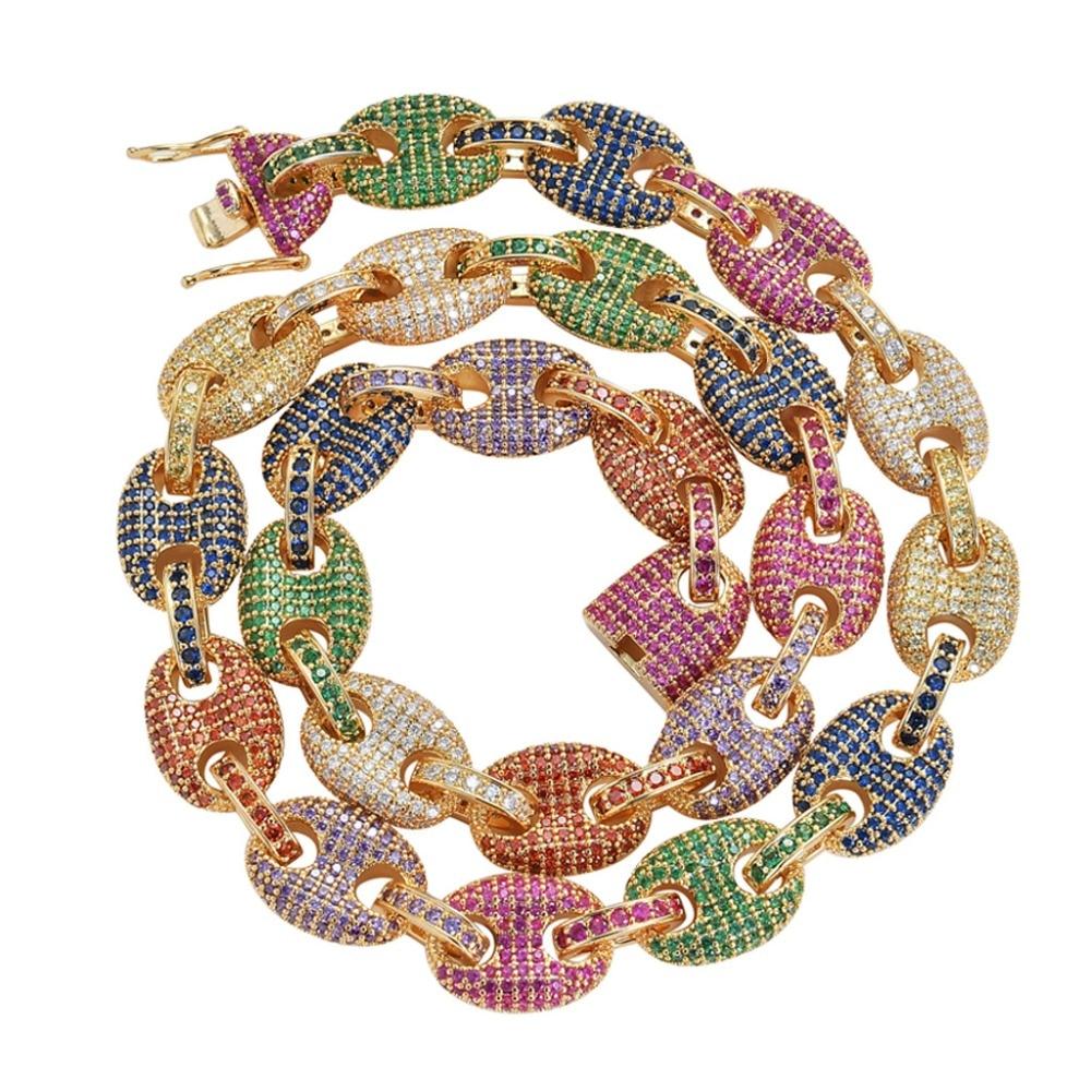 12 MM solide or argent couleur cubique Zircon lien collier Bling hommes Hiphop bijoux cuivre glacé lien chaîne pour cadeau