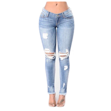 2017 New women fashion clothes pencil Jeans ladies casual holes ripped skinny solid blue tassels denim long pants Trousers
