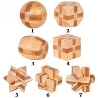 7 PCS New Educational Design IQ Brain Teaser 3D Handmade Wooden Interlocking Burr Puzzles Game Toy