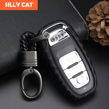 SILLY CAT Carbon Fiber Pattern Car Key Cover Case For Audi A4 A3 A6 Q5 Q7 Q3 fob case Bag