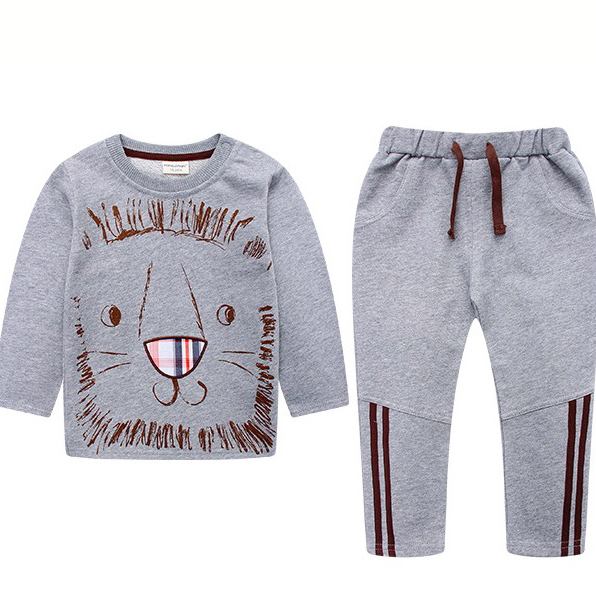 ФОТО New children 's suits cotton cartoon boys set children' s casual sweater two sets Spring and Autumn Children Clothing Suit