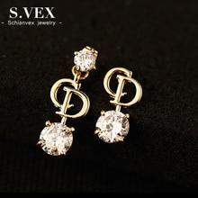 S.vex 2017 Brand Fashion Earrings Gold Plate D Letters Drop Earrings Korean Wedding Jewelry For Women PJ-ER009
