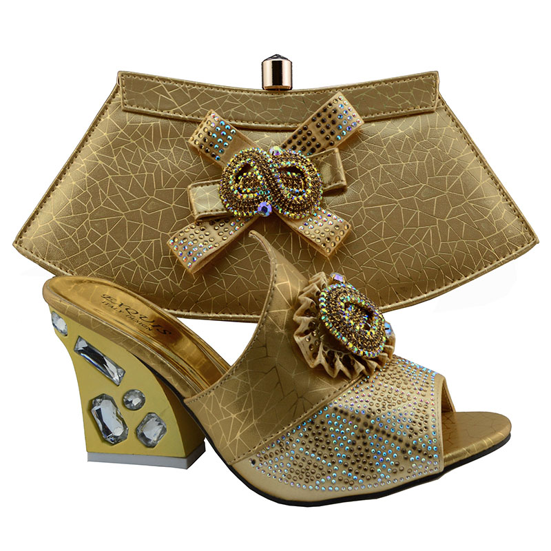 ФОТО Matching shoes and bags italy nigeria gold high quality african shoe and bag set for party in women!KK1-12