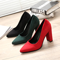 Spring Autumn Office Lady Shoes Womens Poined Toe High Heels Pumps Square Heeled Woman Boat Shoes Ladies dress Shoes 2877