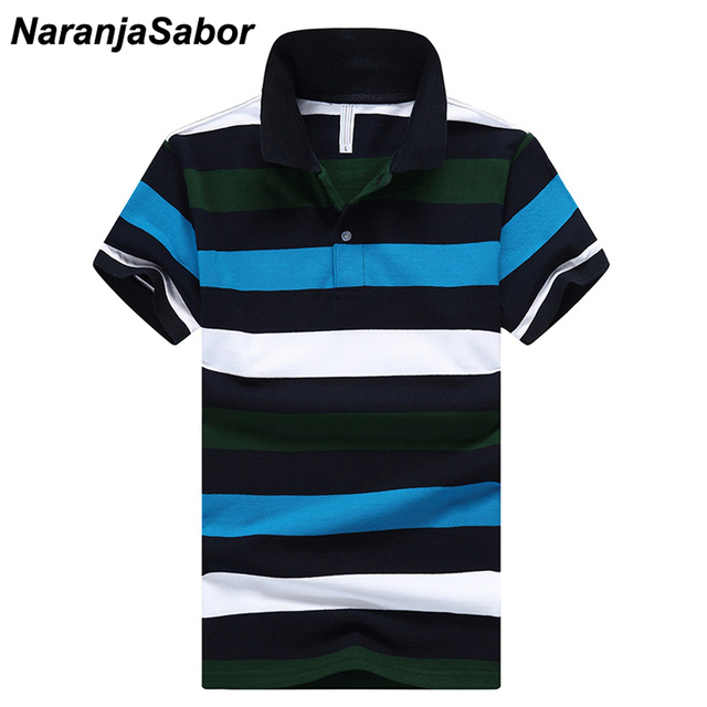 0ddf22aa28 NaranjaSabor Men's Summer Polo New Fashion Boys Striped Cotton Tee Male  Slim Fit Polo Shirts Men Brand Short Sleeve Clothing 4XL