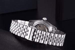 Image 5 - Parnis reloj mecánico automático para hombre y mujer, pulsera de acero inoxidable con diamantes, elegante, dorado, 2019