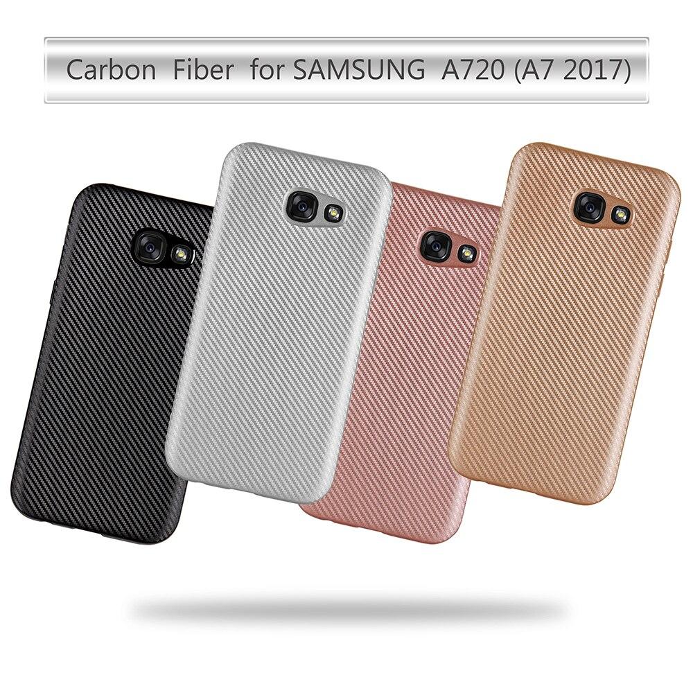 Para Samsung Galaxy A7 2017 Caso TPU de Silicona Suave De Fibra De Carbono cubie