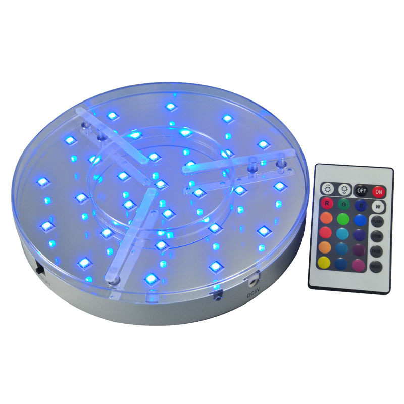 rgb color changing rechargeable battery operated 8inch centerpiece led light base with remote. Black Bedroom Furniture Sets. Home Design Ideas