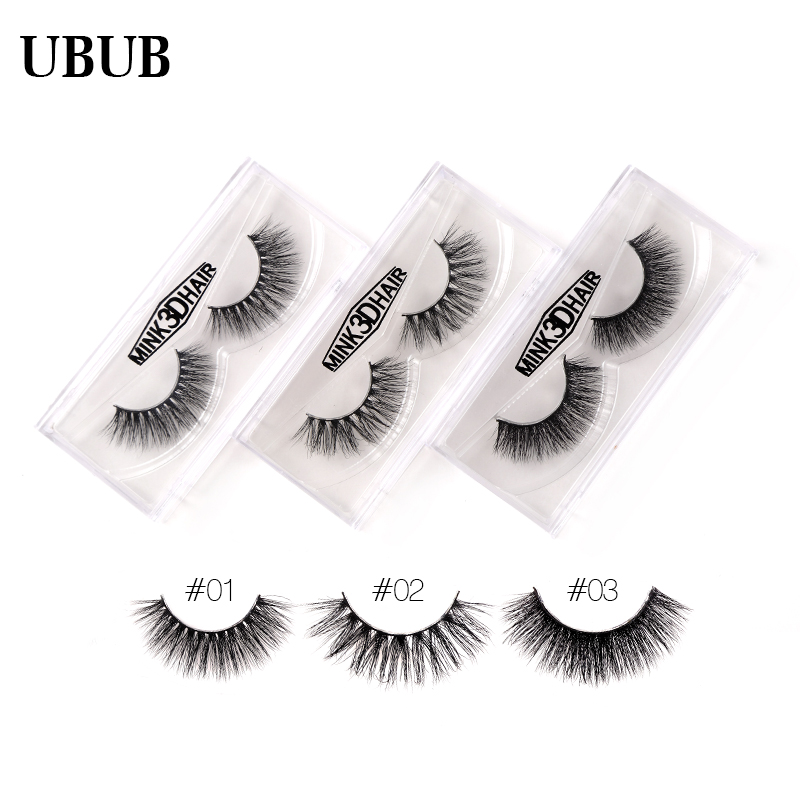 1 Pair 100% Hand Made 3D Mink Eyelashes Natural False Eyelashes Extensions Eyelashes Transparent Box Pack Makeup Beauty Tools