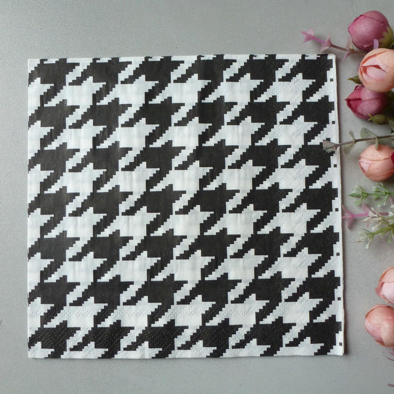 2 x découpage papier napkins 33 * 33 cm 2 plis noir et blanc poule à