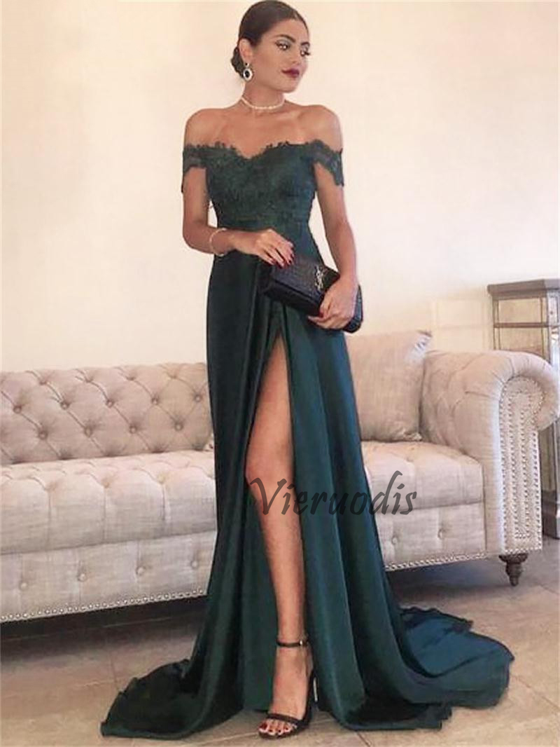 Vieruodis Green Long A line Evening Dresses High Slit Party Gowns Off the Shoulder Formal Prom Dress Plus Size Zipper Custom in Evening Dresses from Weddings Events