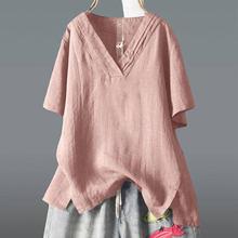 F & je-t-shirt à manches courtes pour Femme, Tee-Shirt à manches courtes décontracté, ample et irrégulier Tee-Shirt Femme Vintage en coton hauts D9
